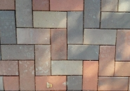 The green-tinted paver has been flashed and should not have been included in this blend