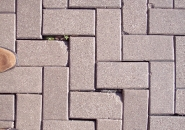 Loss of bedding sand results in settling of pavers around site structure