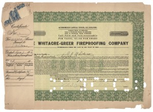 Whitacre Greer Stock Certificate Number One