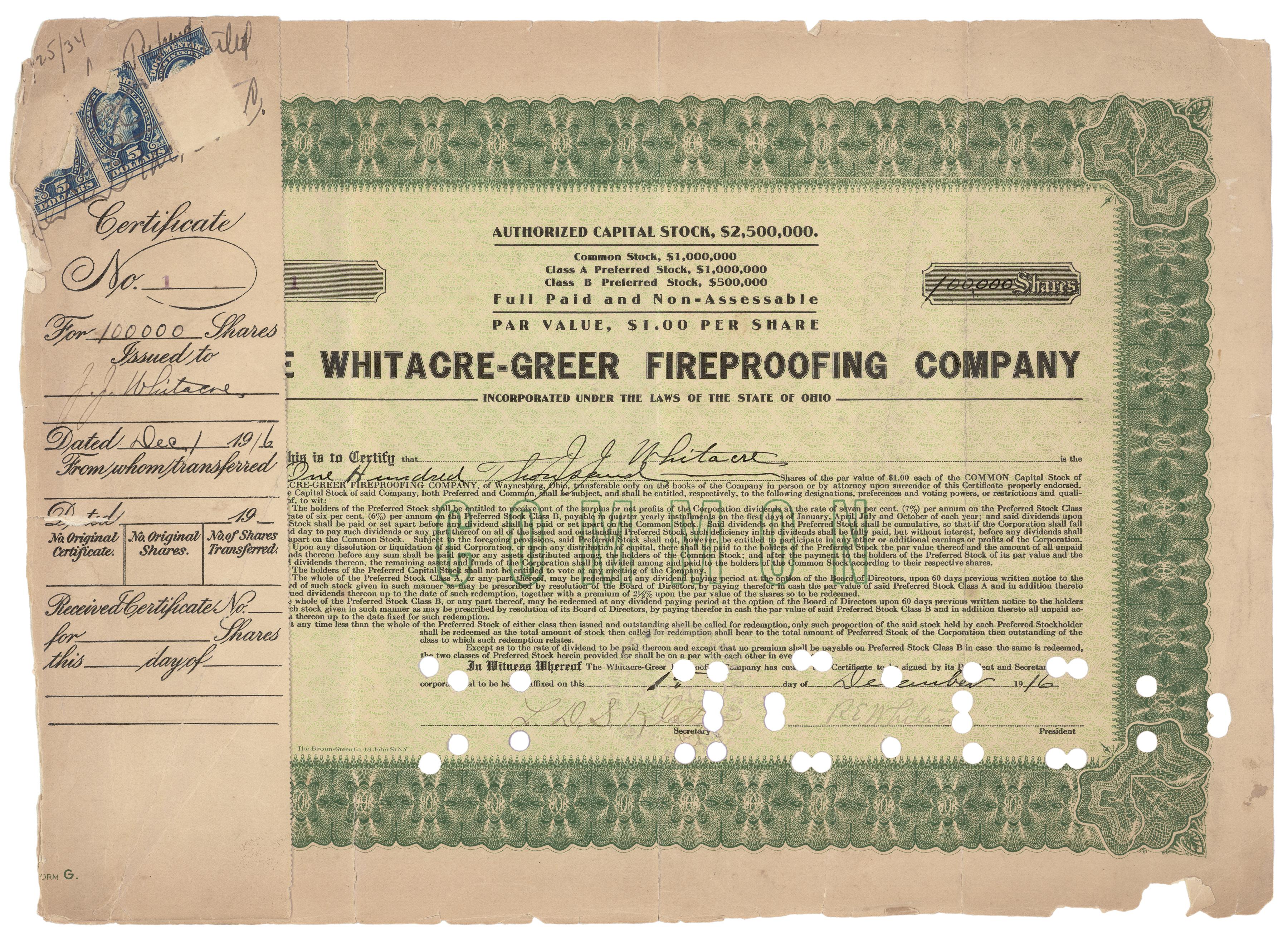 WG Stock Certificate No 1